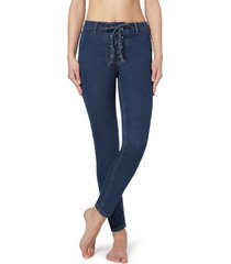 calzedonia denim leggings with crisscross pattern and detail at the waist woman blue size s