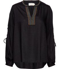 luxa blouse blouse lange mouwen zwart cream