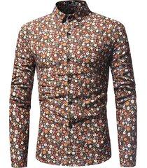elegante stampa floreale sottile fit monopetto camicia per uomo