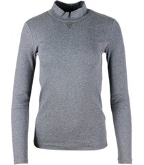 fabiana filippi long-sleeved mock-neck t-shirt in ribbed cotton jersey with triangle in light point on the neck