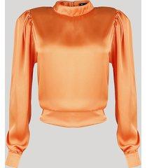 blusa acetinada feminina mindset com abertura e amarração manga bufante decote redondo laranja