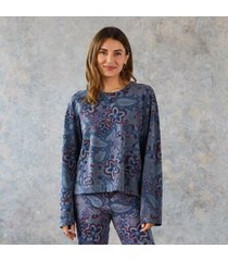 sundance catalog women's paisley joy sweatshirt in pigmtsaphr xs