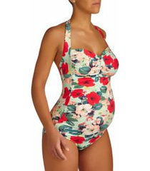 women's pez d'or san marino floral print one-piece maternity swimsuit, size large - green