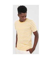 camiseta hering listrada amarela/branco
