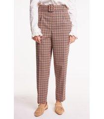 spodnie w kratę z wysokim stanem tracey