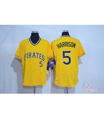 pittsburgh pirates 5 josh harrison yellow pullover flexbase baseball jersey