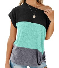 color block batwing sleeve knitted t-shirt