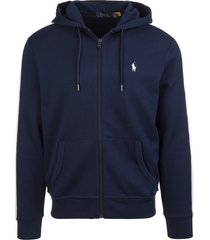 ralph lauren man navy blue hoodie with white stripes and back print