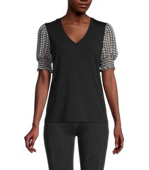 laundry by shelli segal women's v-neck balloon-sleeve top - black - size s