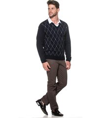 suéter passion tricot jacar losango marinho - kanui