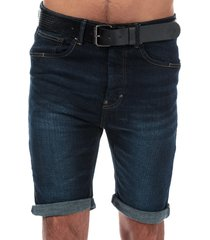 crosshatch black label mens yankton denim belted shorts size 30r in blue