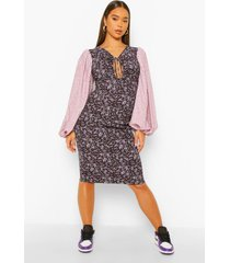 contrasterende mini jurk met ballonmouwen, purple