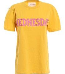 alberta ferretti rainbow week wednesday yellow tee j0708167229