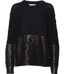 coated cable sweater gebreide trui zwart calvin klein jeans