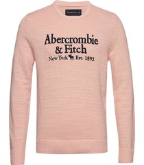 elevated emb logo gebreide trui met ronde kraag roze abercrombie & fitch