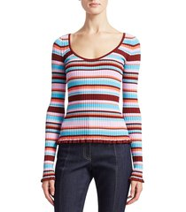 cinq à sept women's estella striped ribbed top - red multi - size xs