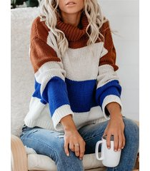 color block striped high neck long sleeves sweater