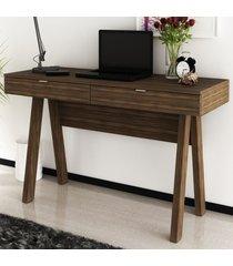 mesa escrivaninha 2 gavetas nogal/pés nogal me4128 - tecno mobili