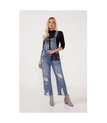 macacão jeans destroyed jeans - 34