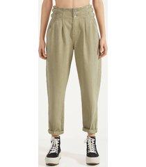 broek met hoge taille en riemlussen