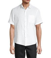 saks fifth avenue men's linen short-sleeve shirt - navy blazer - size xl