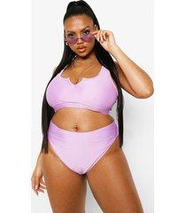 plus hoog uitgesneden essentials bikini broekje, lilac