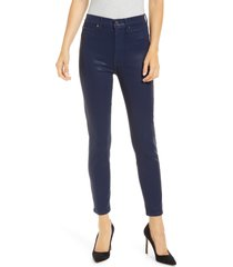 women's 7 for all mankind high waist coated ankle skinny jeans, size 28 - blue