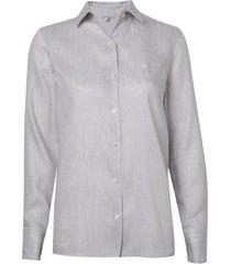 camisa dudalina manga longa prega amarração costas feminina (listrado, 42)