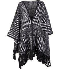 ermanno scervino jacquard cape with fringes
