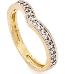 anel kumbayá ''v'' com cravação de zirconias feminino