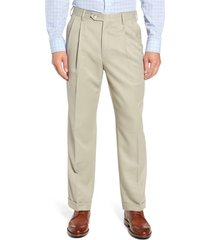 men's berle classic fit pleated microfiber performance trousers, size 31 - beige