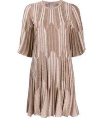 d.exterior striped lurex knit dress - pink