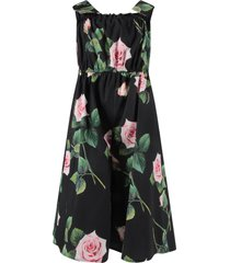 dolce & gabbana black girl jumpsuit with pink roses and logo