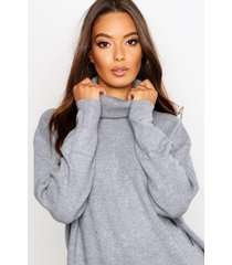 roll neck knitted oversized sweater, silver