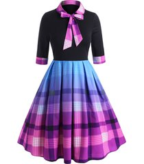 bow tie plaid cuffed sleeve plus size dress