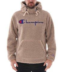champion script logo teddy hoodie |oat| 213681-spg