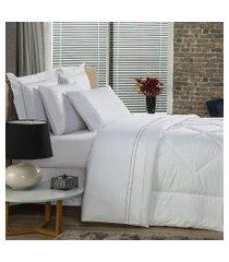 jogo de cama solteiro plumasul premium percal 230 fios 3 pçs branco