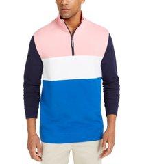 club room men's regular-fit colorblocked 1/4-zip sweatshirt, created for macy's