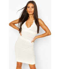 premium pointelle knitted dress, off white