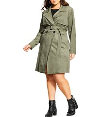 plus size women's city chic faux suede trench coat, size small - green