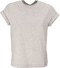 brunello cucinelli stretch cotton jersey t-shirt with precious faux-layering