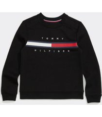 tommy hilfiger girl's adaptive stripe sweatshirt deep black - s