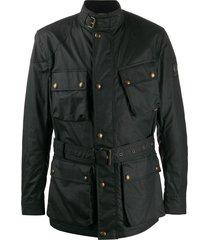 belstaff trialmaster belted military jacket - black