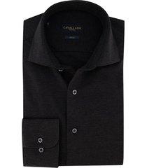 zwart overhemd cavallaro jersey katoen