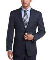 tommy hilfiger blue plaid slim fit suit