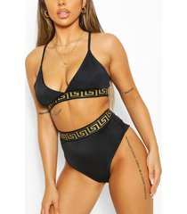 geo tape triangle high waist bikini, black