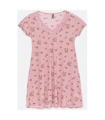 camisola manga curta estampa floral com renda | lov | rosa | m