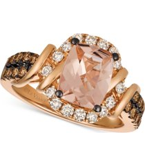 le vian chocolatier peach morganite (1-1/2 ct. t.w.) & diamond (5/8 ct. t.w.) ring in 14k rose gold