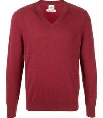 kent & curwen cashmere v-neck pullover - red