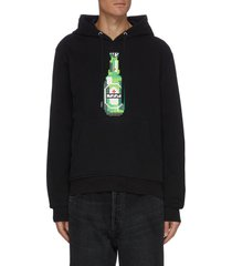 'green bottle' pixelated 3d graphic cotton hoodie